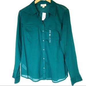 NWT LOFT Button Down Top Size Small Green